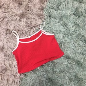 basic red crop top